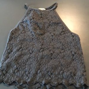 Charcoal gray, lace halter top. open back detail